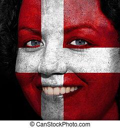 donna, con, bandiera, dipinto, su, lei, faccia, mostrare, austria, sostegno