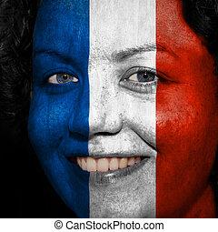 donna, con, bandiera, dipinto, su, lei, faccia, mostrare, francia, sostegno