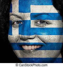 donna, con, bandiera, dipinto, su, lei, faccia, mostrare, grecia, sostegno