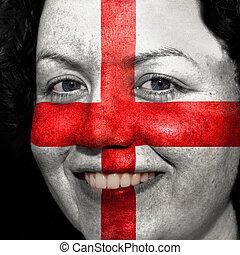 donna, con, bandiera, dipinto, su, lei, faccia, mostrare, inghilterra, sostegno