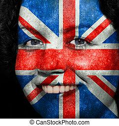 donna, con, bandiera, dipinto, su, lei, faccia, mostrare, regno unito, sostegno