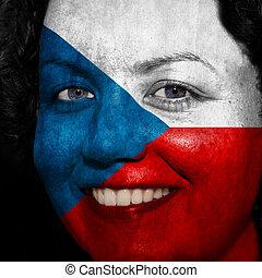 donna, con, bandiera, dipinto, su, lei, faccia, mostrare, repubblica ceca, sostegno, in, sport