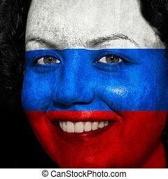 donna, con, bandiera, dipinto, su, lei, faccia, mostrare, russia, sostegno