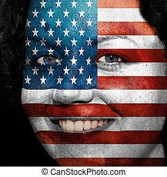 donna, con, bandiera, dipinto, su, lei, faccia, mostrare, stati uniti, sostegno