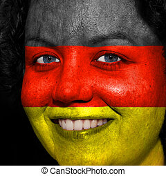 donna, con, bandiera, dipinto, su, lei, faccia, mostrare, tedesco, sostegno