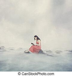donna, con, bibbia, in, clouds.