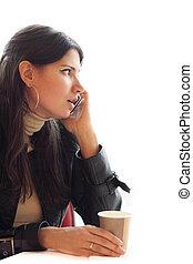 donna, con, caffè, parlare, su, cellphone