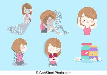 donna, con, depresso, problema