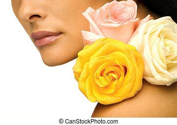 donna, con, fiori coloriti