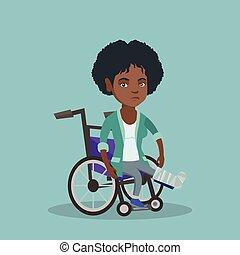 donna, con, gamba rotta, seduta, in, uno, wheelchair.