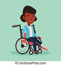 donna, con, gamba rotta, seduta, in, wheelchair.