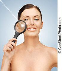 donna, con, lente ingrandimento, e, laser