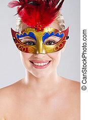 donna, con, maschera carnevale