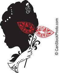 donna, con, maschera, e, fiori
