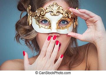 donna, con, maschera veneziana