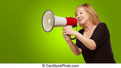 donna, con, megafono