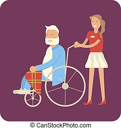 donna, con, nonno, in, carrozzella