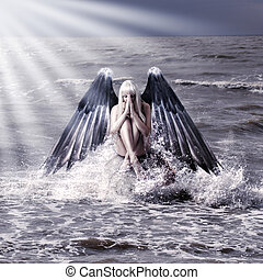 donna, con, scuro, ali angelo
