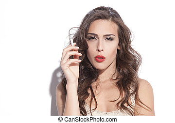 donna, con, sigaretta