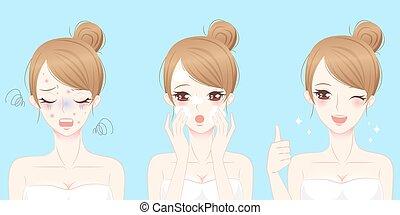 donna, con, skincare, problema