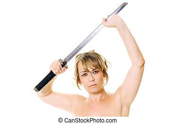 donna, con, spada