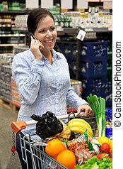 donna, con, sporta, in, il, supermercato