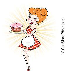 donna, con, torta