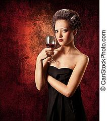 donna, con, vetro vino rosso, su, grunge, fondo