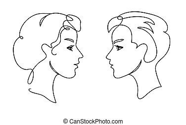 donna, concept., comunicazione, coppia, continuo, giovane, uno, facce, rivestire disegno, silhouettes., adolescenti, uomo