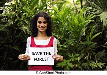 donna, conservation:, segno, ambiente, foresta, presa a terra, risparmiare