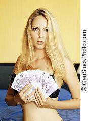 donna, contanti, giovane, presa a terra, sexy, euro
