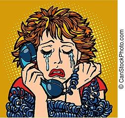 donna, conversazione, umano, emotions., pianto, telefono