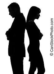 donna, coppia, indietro, triste, uomo