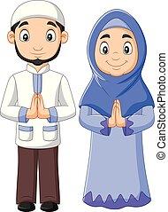 donna, coppia, musulmano, fondo, bianco, cartone animato, uomo