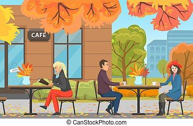 donna, coppia, parco, autunno, caffè, tavola