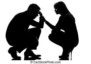 donna, coppia, triste, preoccupare, uomo, consolare