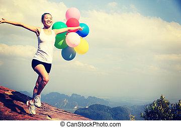 donna correndo, giovane, asiatico
