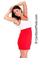 donna, corto, caldo, latino, sexy, vestire, rosso
