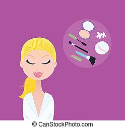 donna, cosmetico, accessori