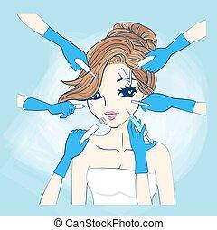 donna, cosmetologia, cartone animato