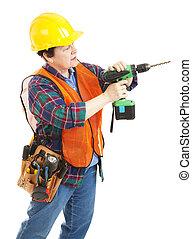 donna, costruzione, trapano