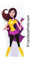 donna, costume, rosa, superwoman