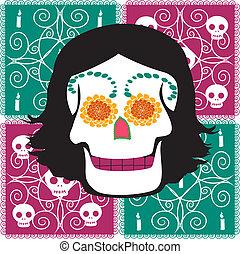 donna, cranio, messicano