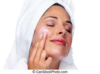 donna, cream., faccia, moisturising, bello