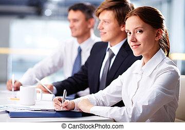 donna d'affari, a, seminario