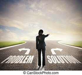 donna d'affari, a, uno, crossroads., lei, chooses, il, corretto, way., concetto, di, decisione, in, affari