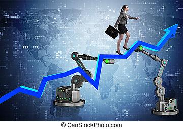 donna d'affari, andare, su, grafico