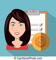 donna d'affari, avatar, cartone animato