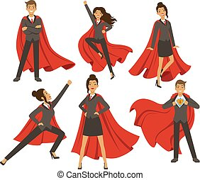 donna d'affari, azione, poses., femmina, superhero, flying., vettore, illustrazioni, in, cartone animato, stile