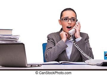 donna d'affari, bianco, isolato, ufficio, giovane